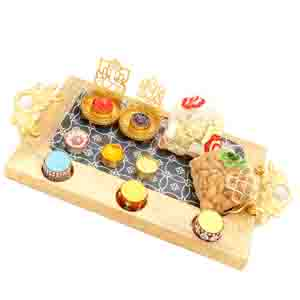 Chocolate & Cookies-Wooden Serving platter with Shadow Laxmi Ganesha