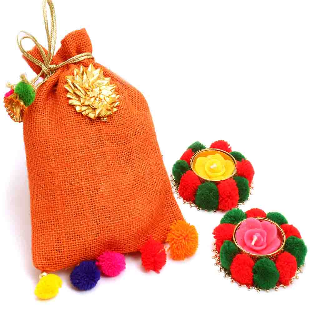 Colourful Nutties Pouch with 2 T-lites
