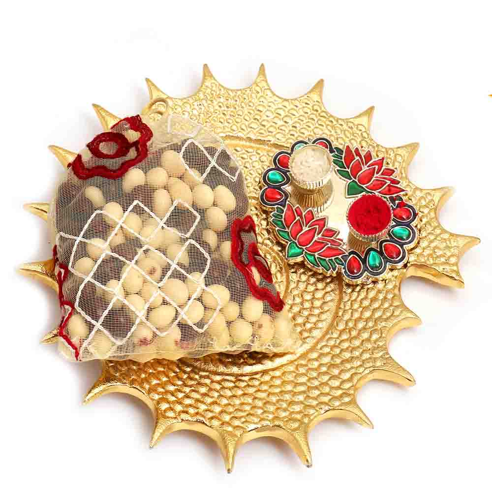 Lotus Pooja Thali and Stone Chocolate Pouch