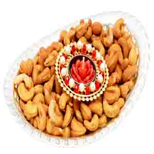 Diwali Hampers-Oval Bowl with T-lite and Roasted Cashews