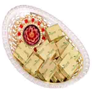Diwali Hampers-Oval Bowl with T-lite and Chocolates