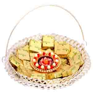 Diwali Hampers-Silver Chocolate Tokri with T-lite