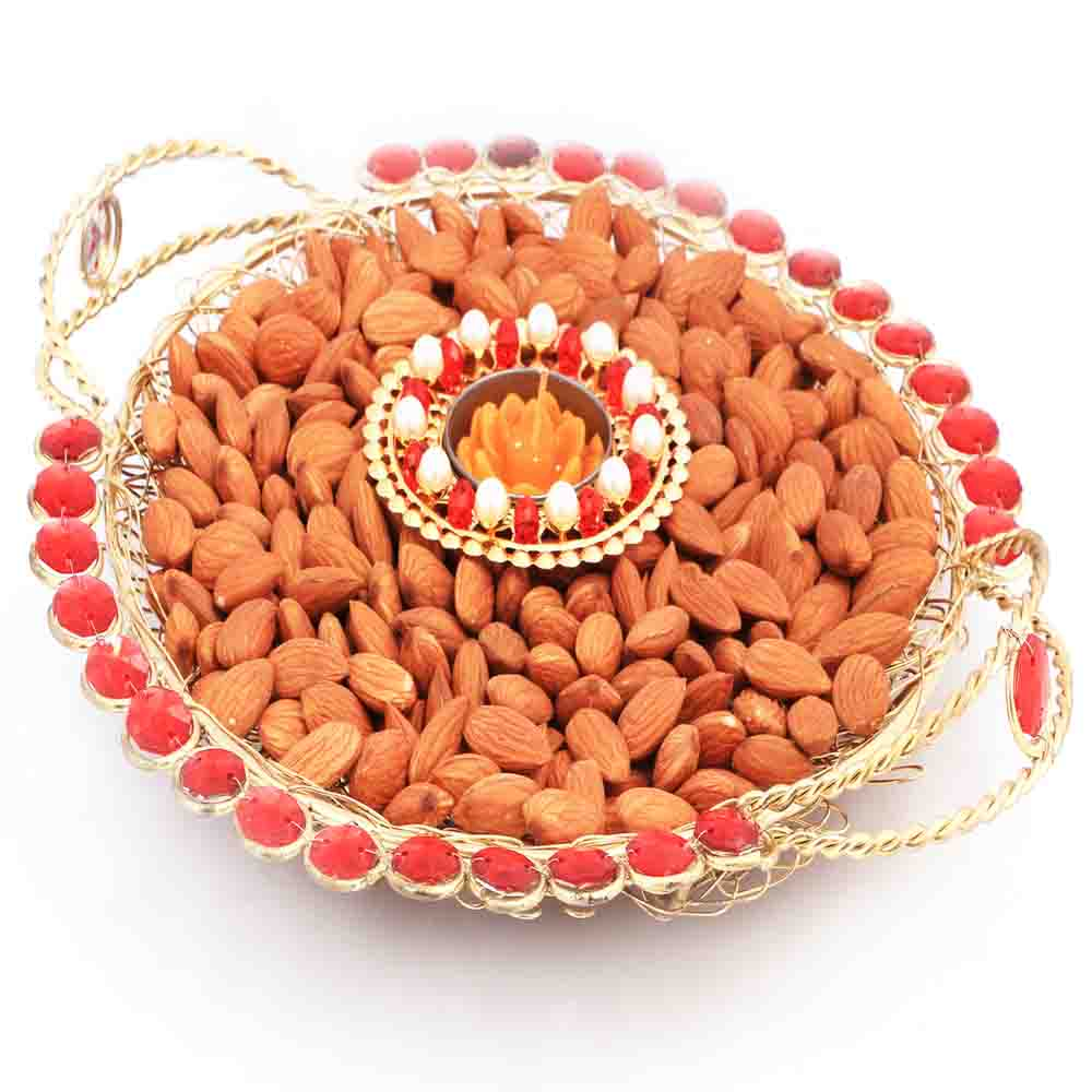 Golden Mesh Thali with T- Lite and Almonds