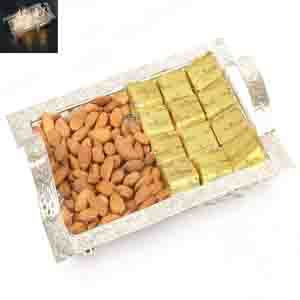 Diwali Hampers-Silver Mesh Basket with Chcolates and Almonds
