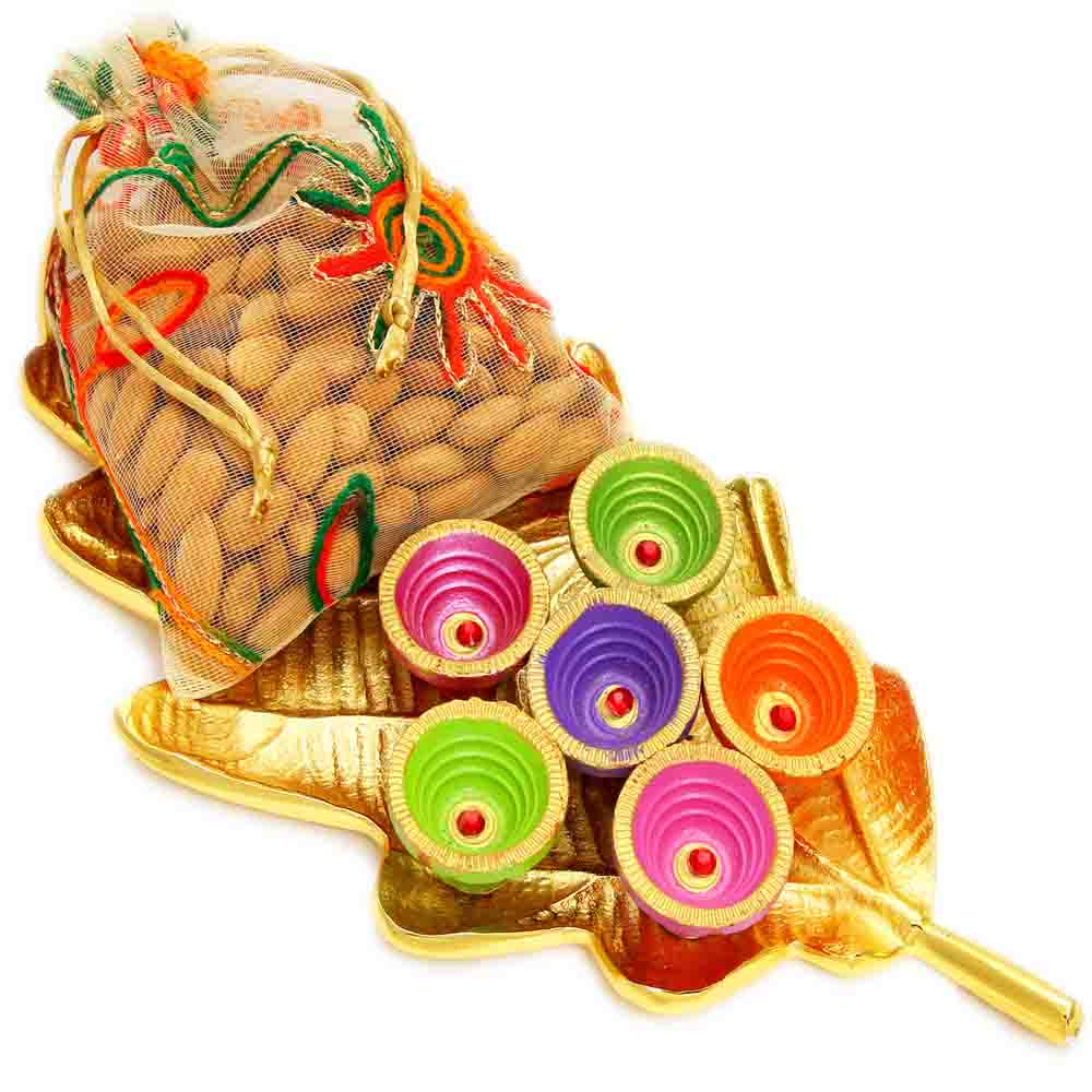 Golden Leaf Almonds Pouch and Diyas Platter