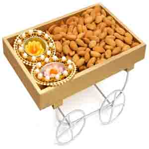 Diwali Hampers-Cart Tray Hamper of Almonds and 2 T-Lites