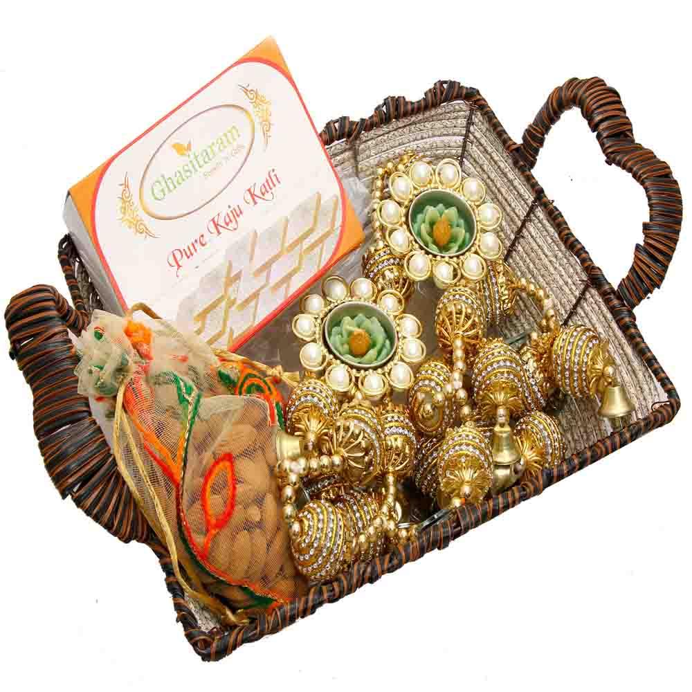 Brown Cane Basket with Kaju Katli