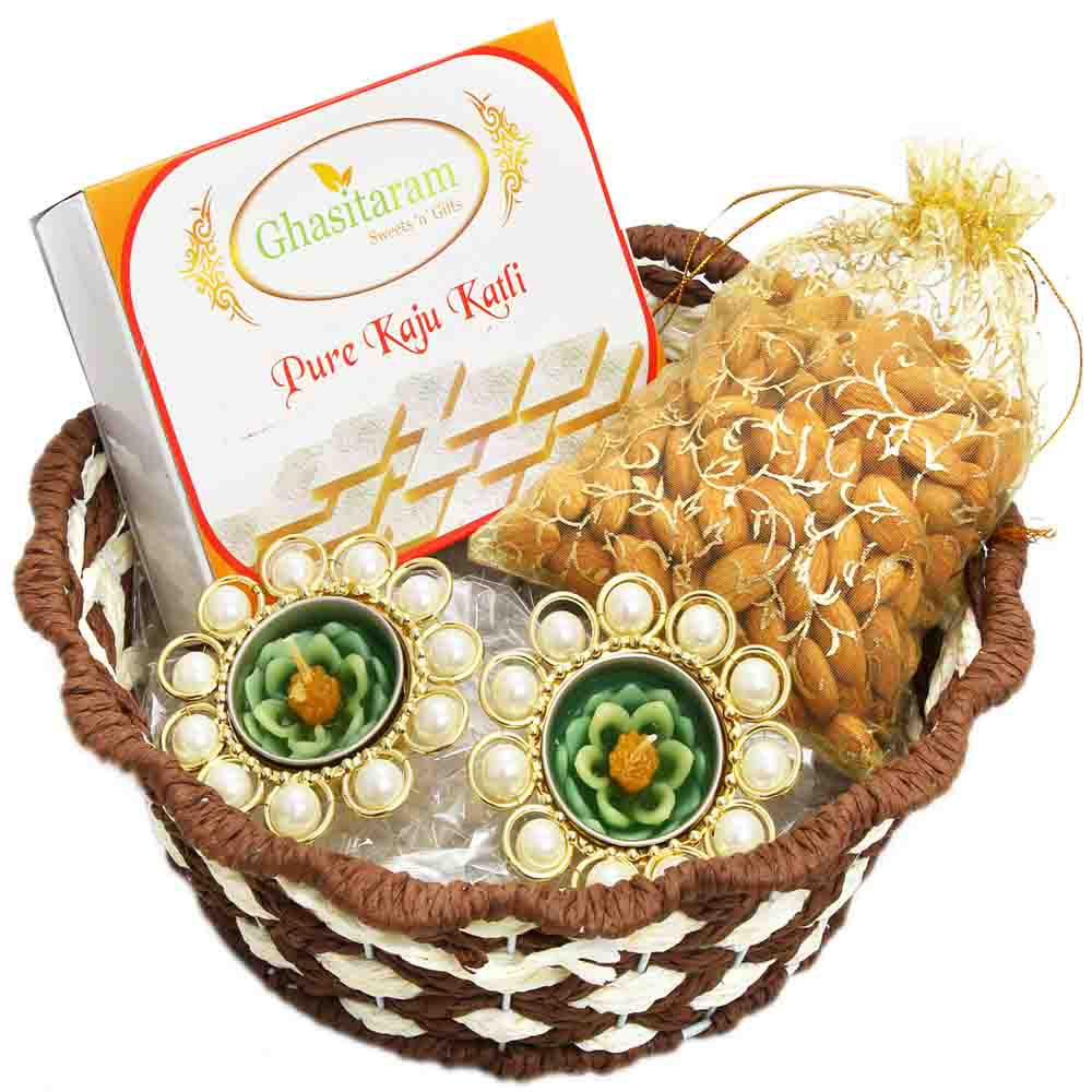 Brown Round Cane Basket with Kaju Katli