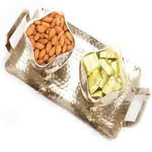 Diwali Hampers-Silver Aluminium Chocolate and Almonds Tray