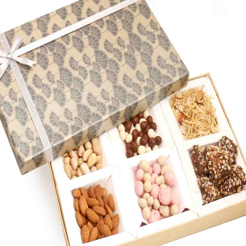 Grey 6 Part Almonds and Brittles Chocolates Box