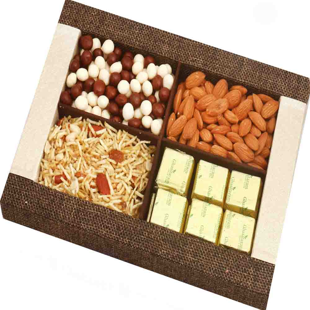 Jute Almonds, Namkeen, Nutties and Chocolate Tray