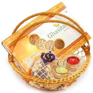 Diwali Hampers-Golden Metal Basket with Dryfruit Box