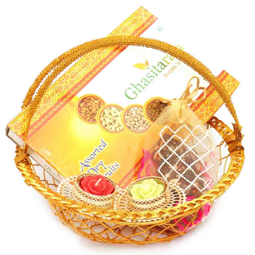 Golden Metal Basket with Dryfruit Box