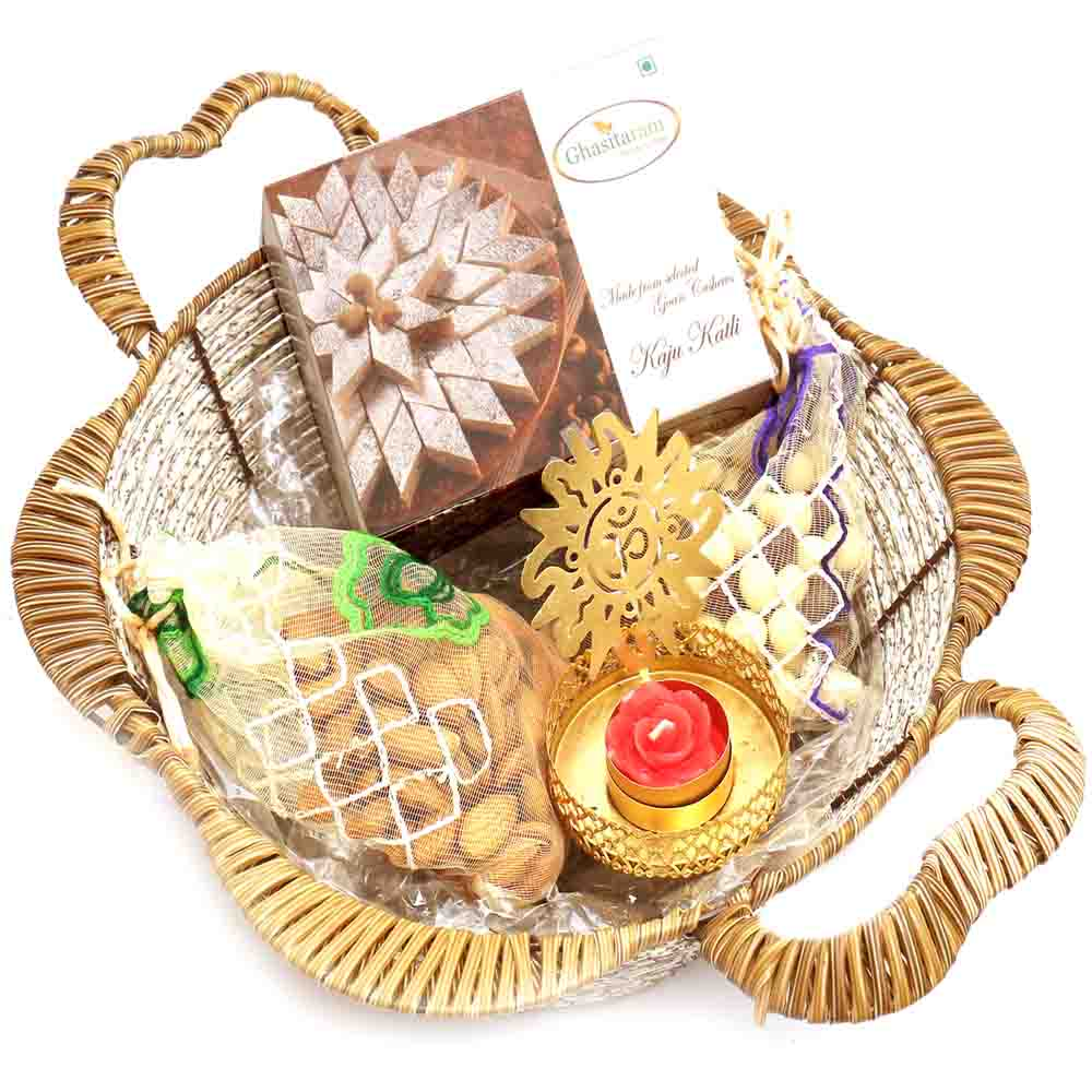 Brown Basket with Om T- Lite