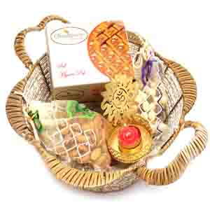 Diwali Hampers-Brown Basket with Mysore Pak, Almonds, Nutties Pouch