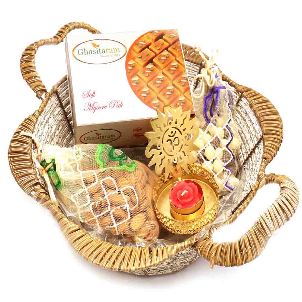 Brown Basket with Mysore Pak, Almonds, Nutties Pouch