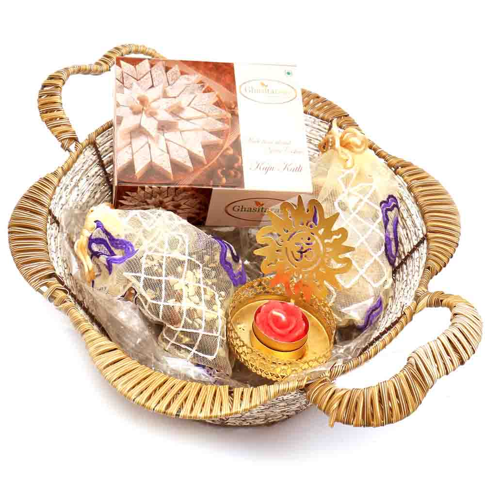 Brown Basket with Kaju Katli, Chocolates