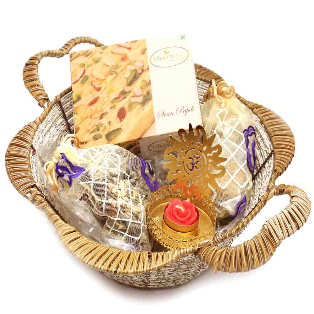 Brown Basket with Soan Papdi & Om T- Lite