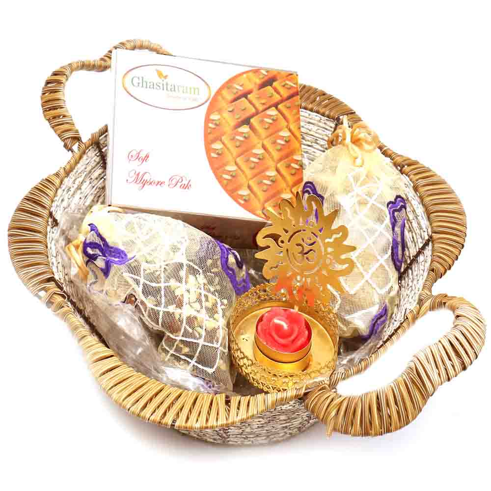 Brown Basket with Mysore Pak & Om T- Lite