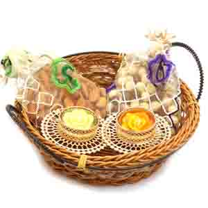 Diwali Hampers-Small Cane Basket with Almonds and 2 T-Lites