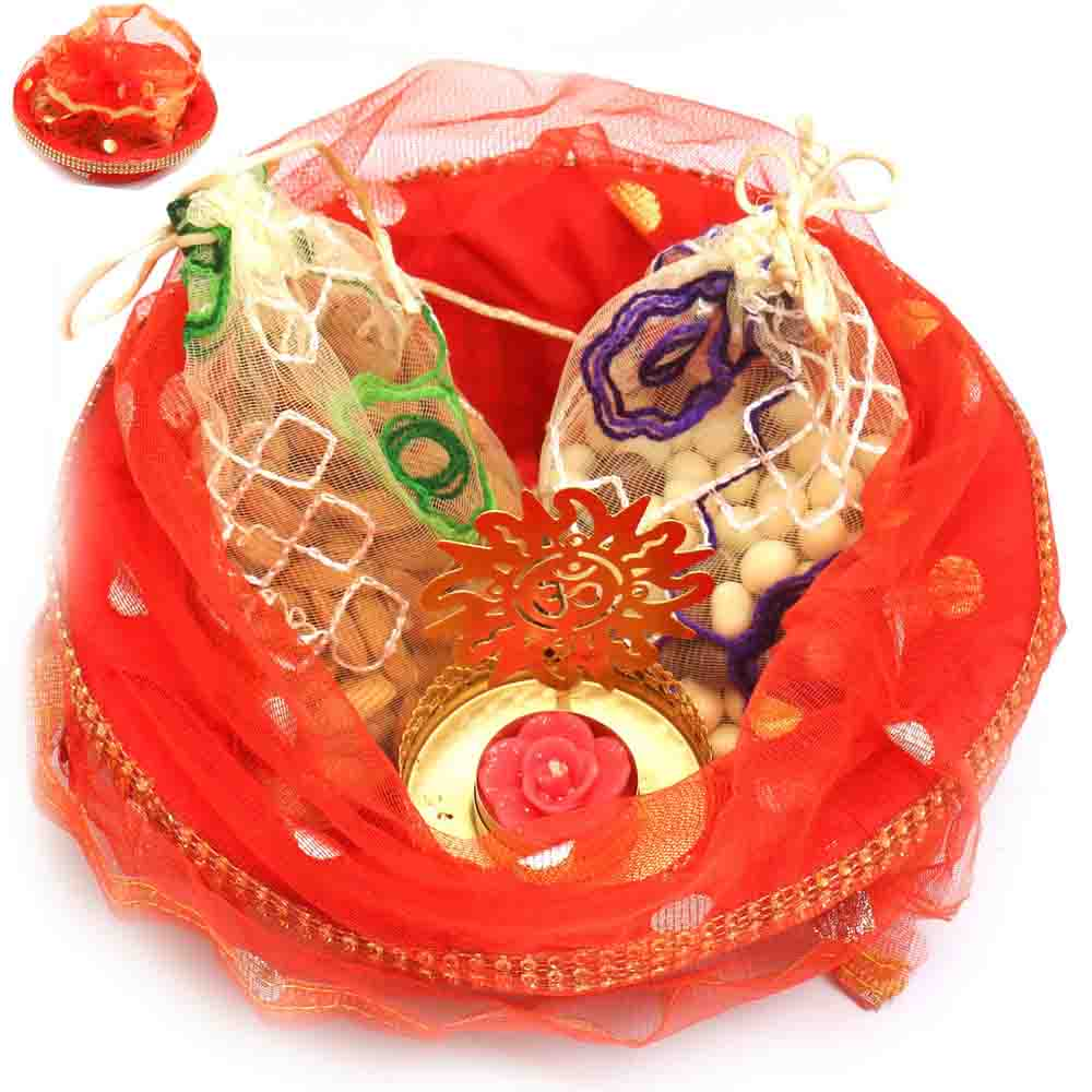 Red Potli Basket with almonds, Nutties Pouches and Om t-lite