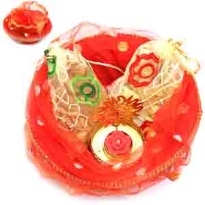 Diwali Hampers-Red Potli Basket with almonds, Chocolate Pouches and Om T- lite