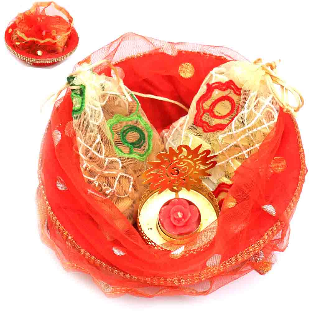 Red Potli Basket with almonds, Chocolate Pouches and Om T- lite