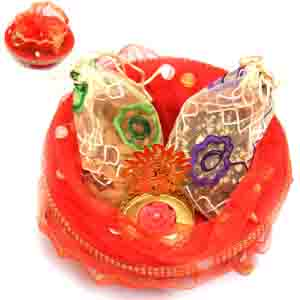 Diwali Hampers-Red Potli Basket with almonds, Brittles Pouches and Om T- lite