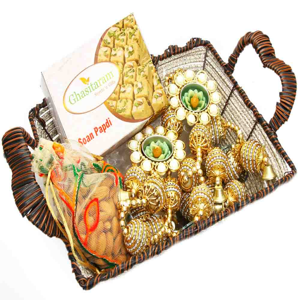 Brown Cane Basket with Soan Papdi and 2 T-Lites