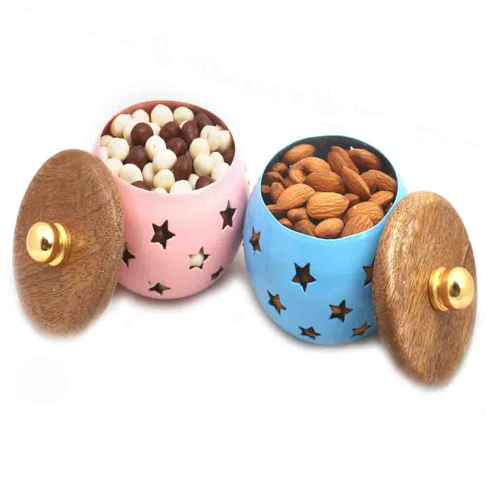 Diwali Hampers- Set of 2 Nutties and Almonds Metal Jars