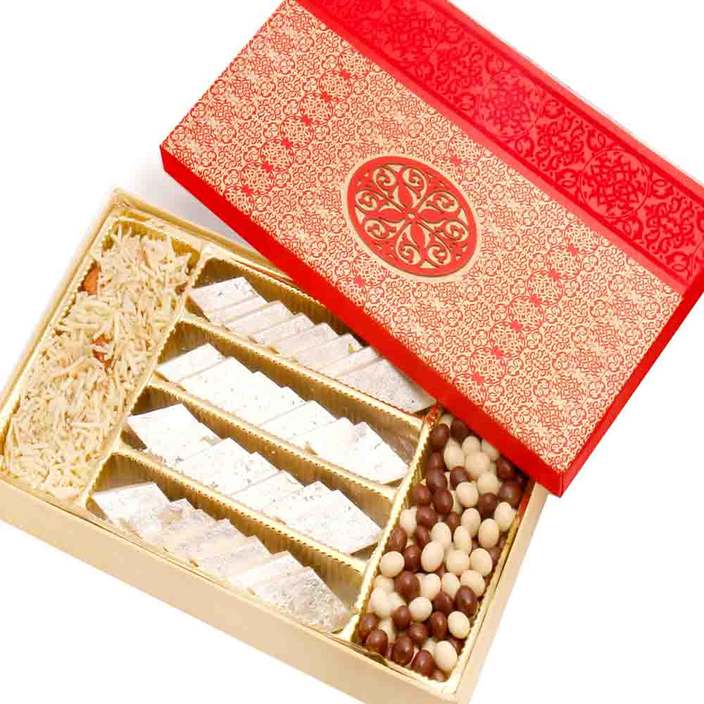 Diwali Hampers-Red Satin Hamper box with Kaju katli, Nutties and Namkeen
