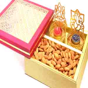 Diwali Hampers-Carving box with shadow t lites and almonds
