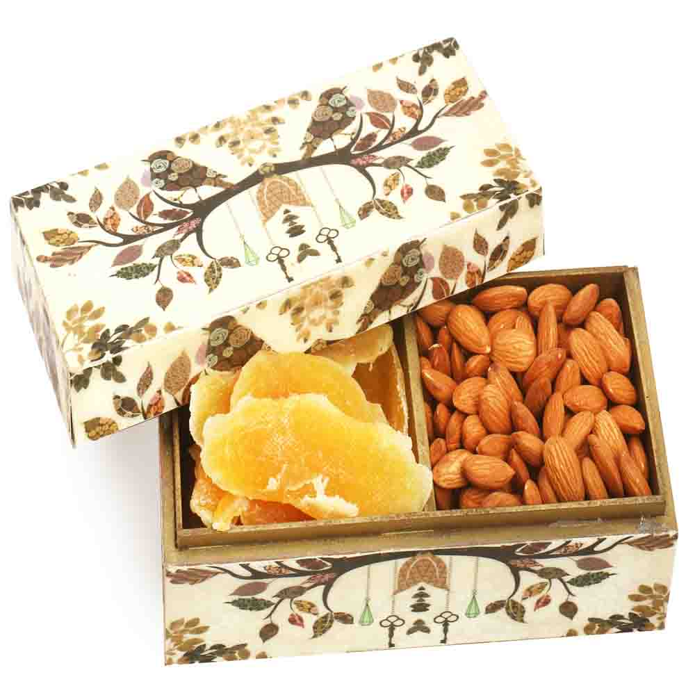 Wooden 2 part Almonds and Dried Mango Box