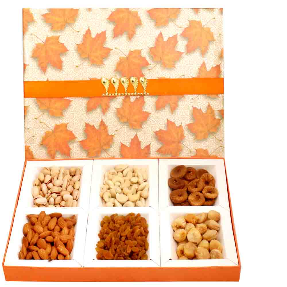 Orange Big 6 Part Print Dryfruit Box