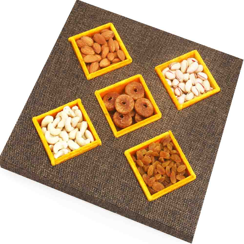 Jute 5 Part Dryfruit Tray