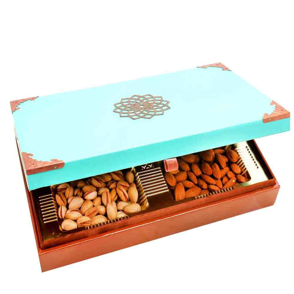 Green Wooden Dryfruit Box 400 gms