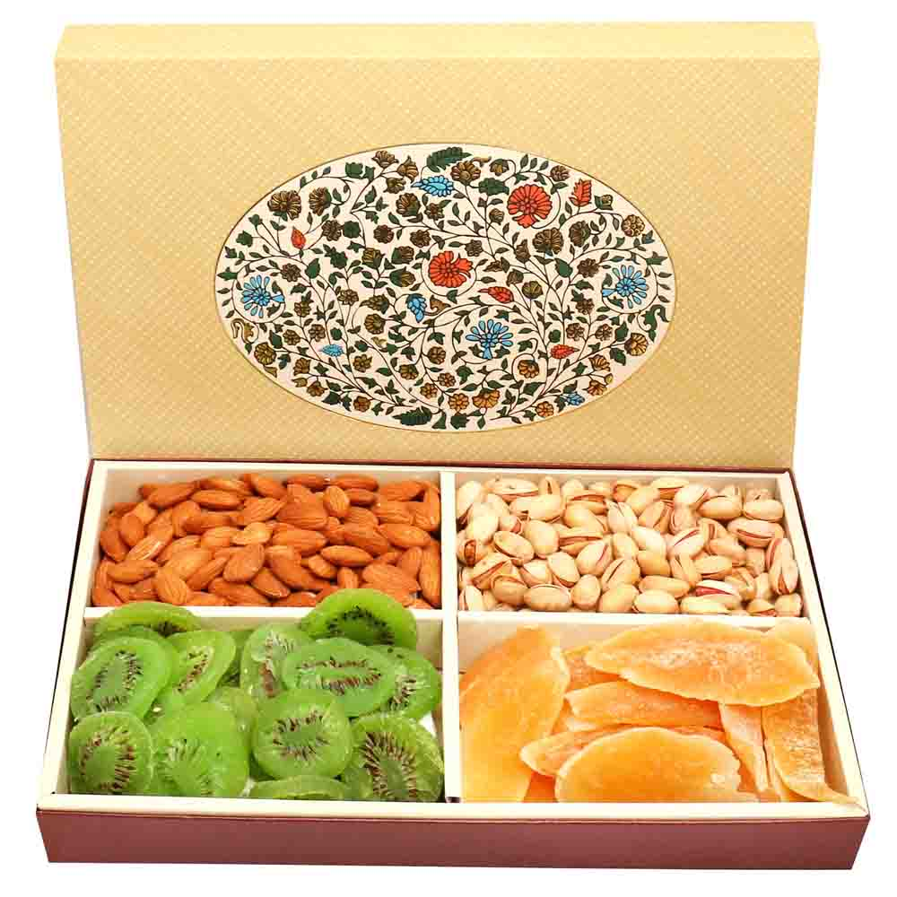 4 part Eco Print Assorted Dryfruit Box 600 gms