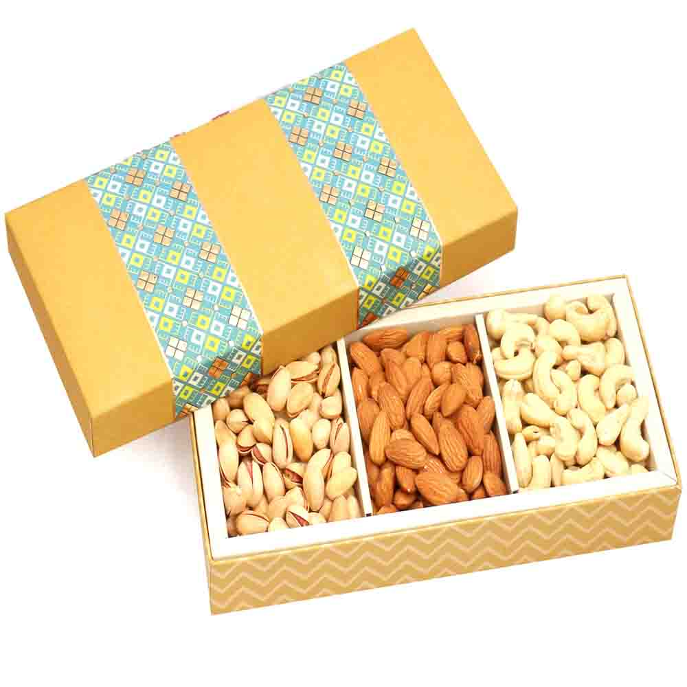 3 Part Print Cashew Almonds Pistachio Box 300 gms