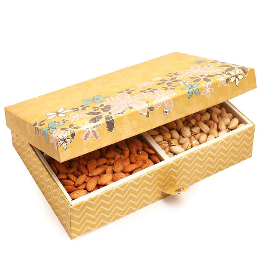 Gold 4 Part Print Dryfruit Box 600 gms