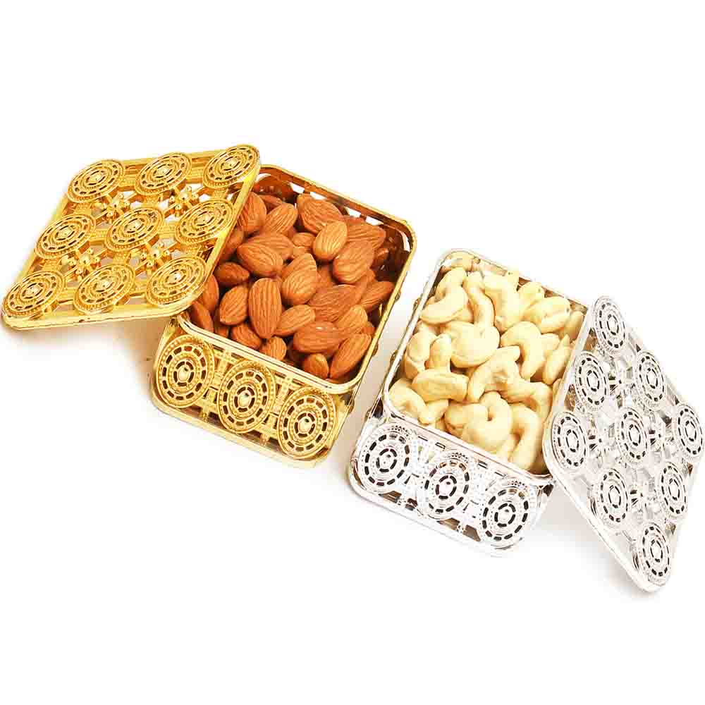 Silver and Gold Almonds and Cashews Boxes