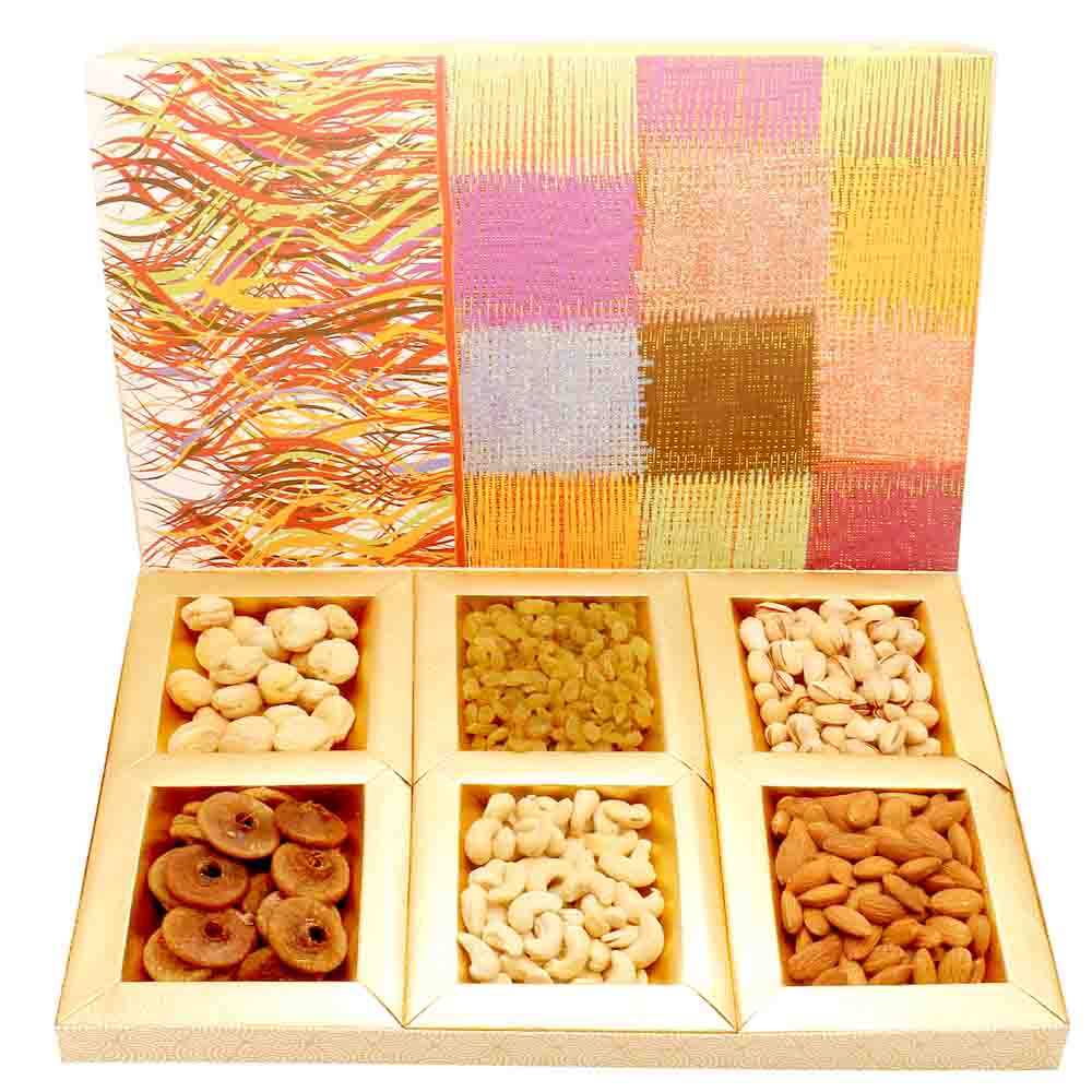 Colurful dryfruit box 600 gms
