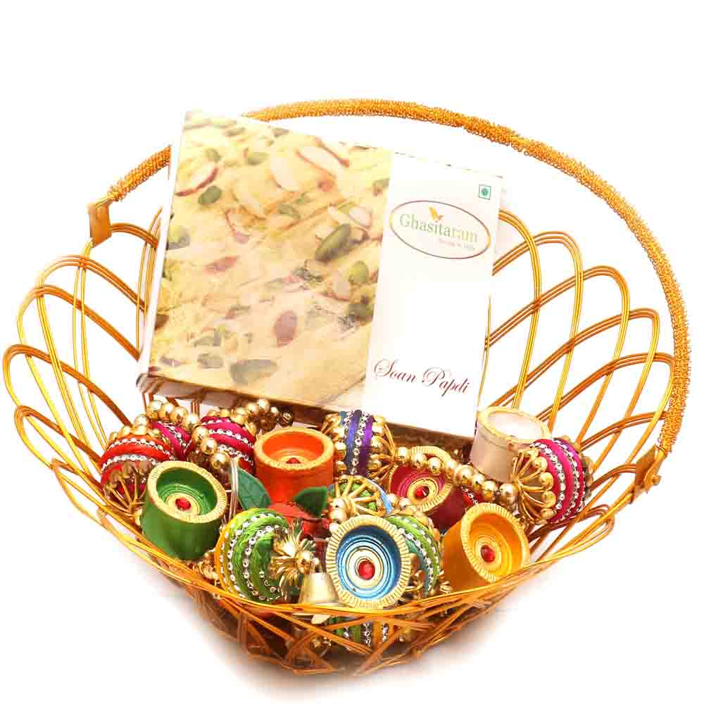 Gold Wired Basket with Soan Papdi