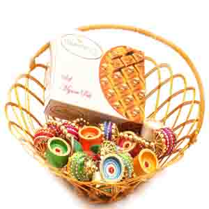 Diwali Hampers-Gold Wired Basket with Mysore Pak