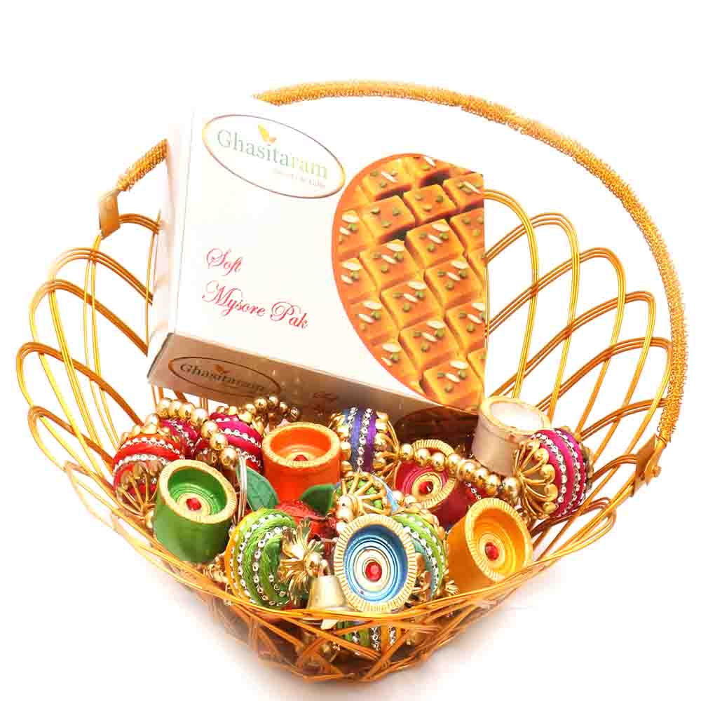 Gold Wired Basket with Mysore Pak
