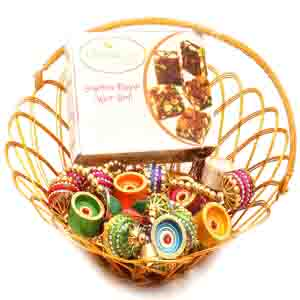 Diwali Hampers-Gold Wired Basket with Sugarfree Mix