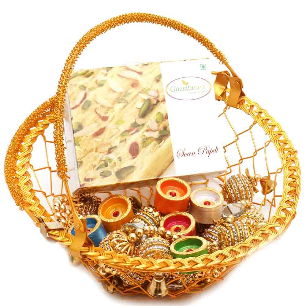 Golden Metal Basket with Soan Papdi