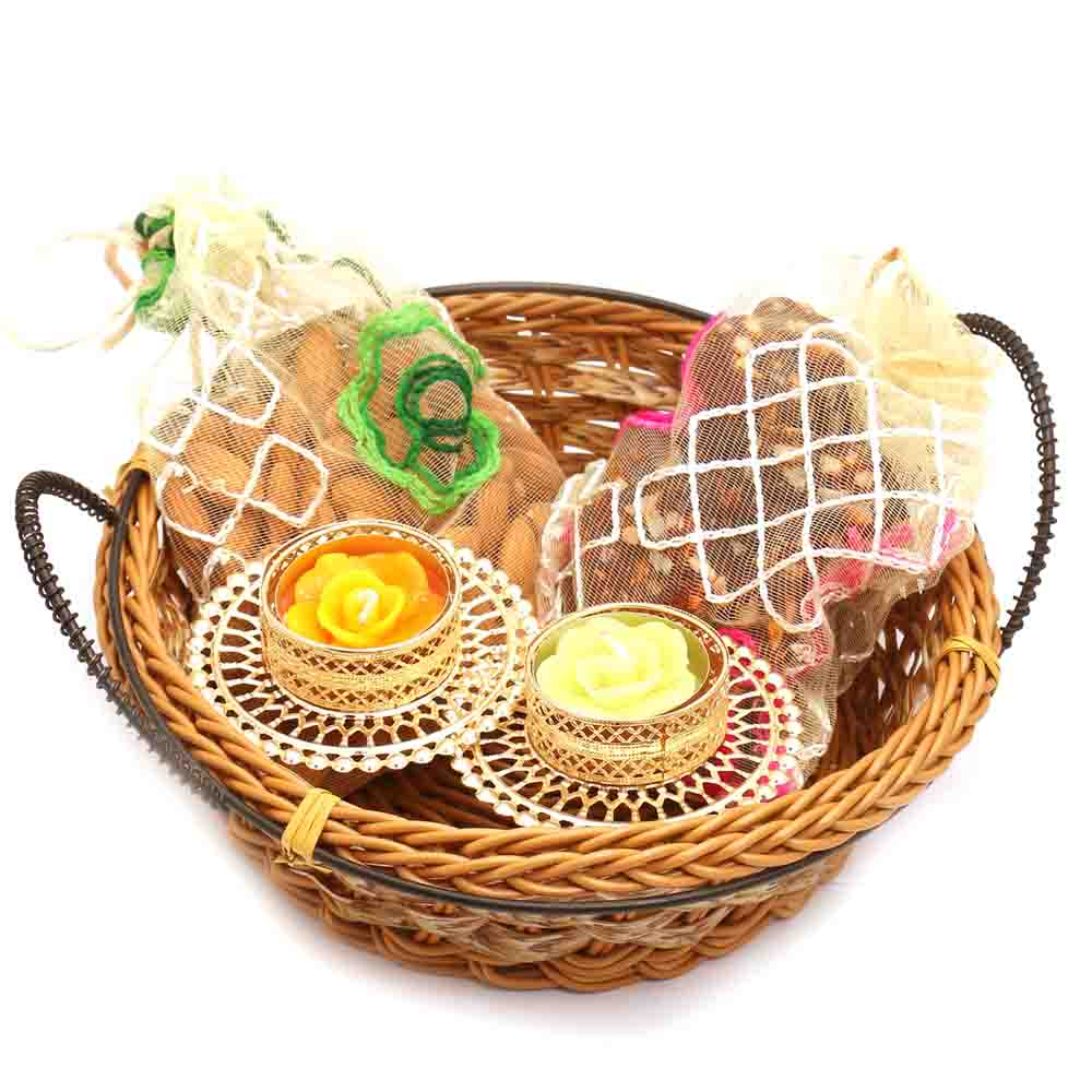 Small Cane Basket with Almonds and 2 T-Lites