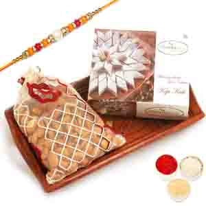 Diwali Hampers-Small Wooden Tray with Kaju Katli and Almonds