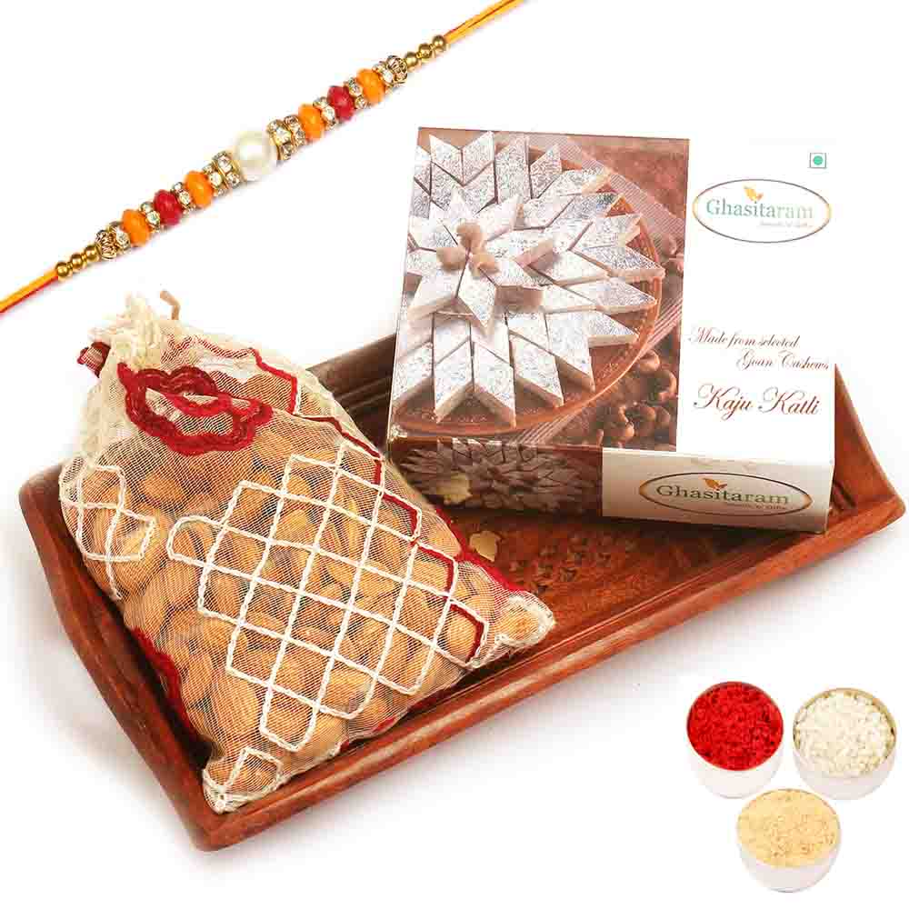 Small Wooden Tray with Kaju Katli and Almonds