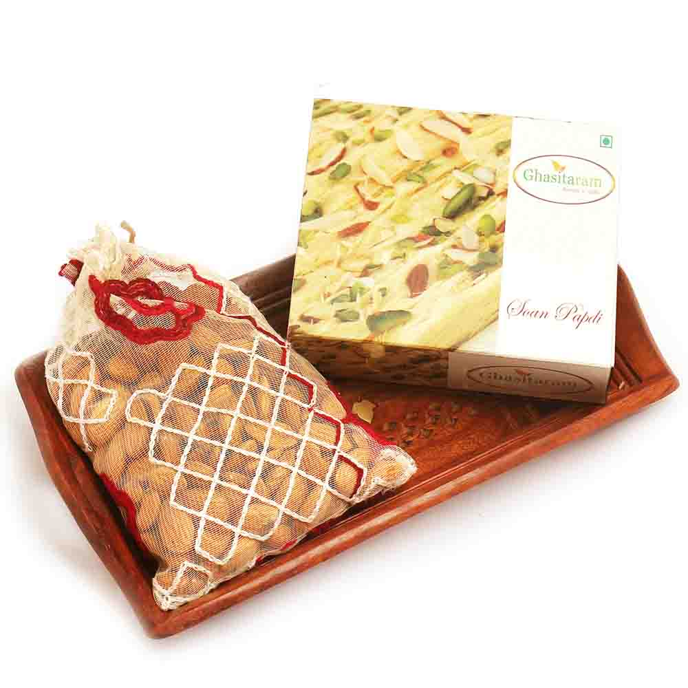 Diwali Hampers-Small Wooden Tray with Soan Papdi and Almonds
